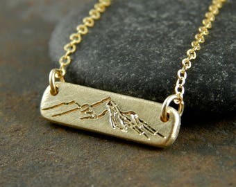 """Gold bar necklace, mountain necklace, solid gold bar necklace with engraved mountains, thick solid 14k gold, 5 x 1.5 mm, about 3/4"""" wide."""