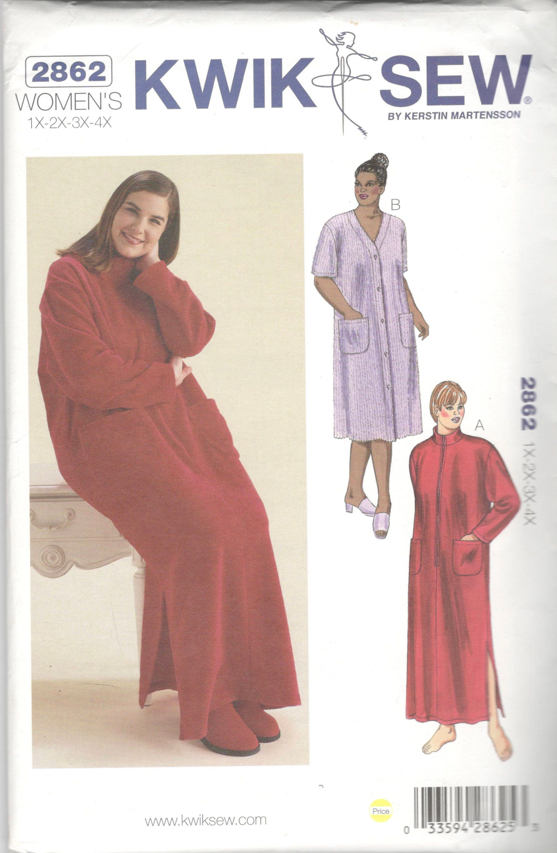 Kwik sew 2862 womens comfy robe pattern zip or button front adult 350 shipping jeuxipadfo Gallery