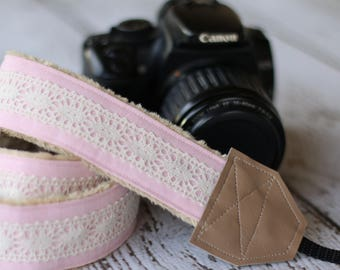 Camera Straps. Pink Linen Lace. dSLR Camera Strap. Custom Camera Strap. Camera Neck Strap. Cute Camera Strap. Gift for Her. Padded Camera.