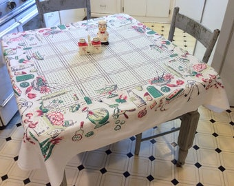 Vintage Startex Tablecloth Summer Picnic Fruits Veggies Salad Pie