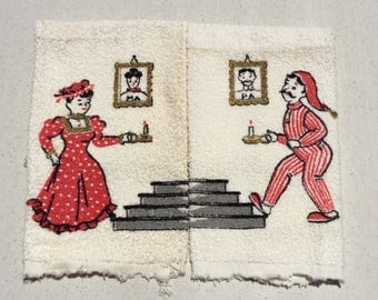 Vintage Towel Pair His & Hers Ma and Pa Heading to Bed