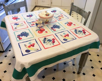 Vintage Wilendur Tablecloth Colorful Fruit Squares Cherries Peaches Strawberries More