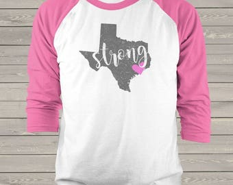 Hurricane Harvey Fundraiser Texas Strong unisex adult raglan shirt TXS-005r
