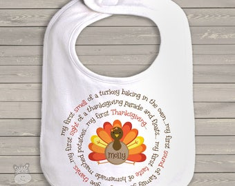 baby's first thanksgiving bib adorable my first turkey day baby bib for boy or a girl SNLF-020-b