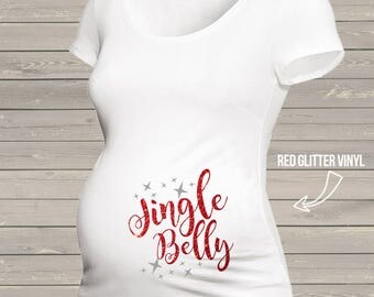 Christmas jingle belly glitter or foil whimsical long or short sleeve maternity or non maternity pregnancy Tshirt  MMAT-008g