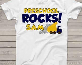 Back to school STUDENT shirt - preschool or any grade rocks dump truck Tshirt  mscl-106