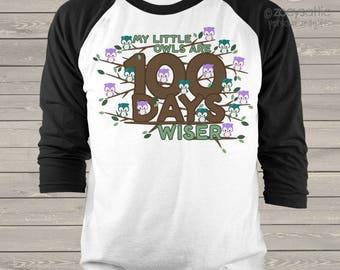Teacher shirt - 100 Days wiser owl hundred day raglan shirt for teachers   mscl-109-r
