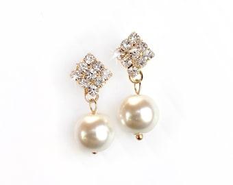 Earrings - Classic Pearl Rhinestone Earrings in Silver or Gold - White or Ivory - Custom - Simple Elegant Crystal Bridesmaid Earrings