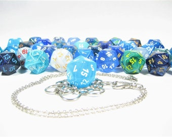 Blue & Teal d20 Necklace and Key Chain Combo With Removable Dice - Gifts for Geeks and Gamers