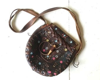 Tooled Leather Purse | Flower Festival | Shoulder Bag