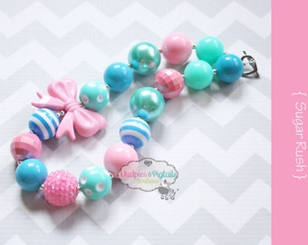 toddler bead necklace { Sugar Rush } pink, turquoise, aqua white, Easter, First Birthday, Cake smash, Spring photography prop, party favors