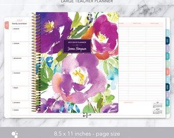 teacher planner 8.5x11 | 2017-2018 lesson plan | weekly teacher planner | personalized teacher planbook | violet watercolor floral