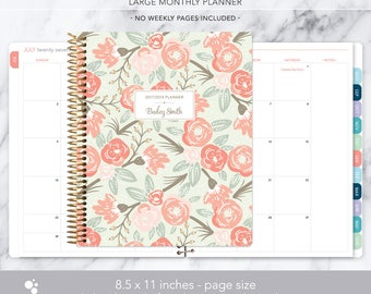 8.5x11 MONTHLY PLANNER notebook | 2017 2018 no weekly view | choose your start month | 12 month calendar | sage pink gold floral