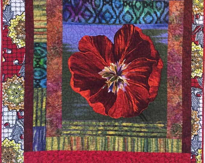 Give Yourself a Bold Red Flower 40x48 inch art quilt