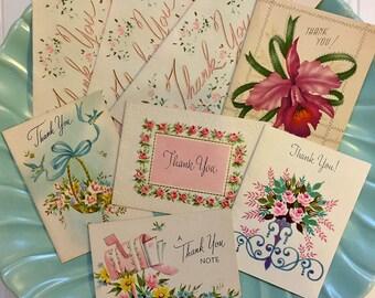 Mini Vintage Thank You Card Lot, Midcentury Thank You Cards, Retro Thank You Cards, 1940s-1950s
