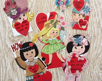 Set of 5 Vintage 1960s Valentine School Cards, Asian, Indian, Flowers and Hats, Burlap, Lace, Yarn