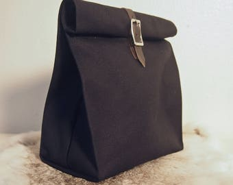 Black Canvas Lunch Bag / Heavy Duty / Buckle Closure / Lined