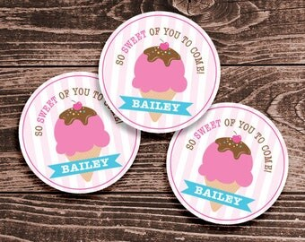 Personalized Ice Cream Party Favor Tags or Stickers – 2, 2.5 or 3 inch Circle – DIY Printable – Pink (Digital File)