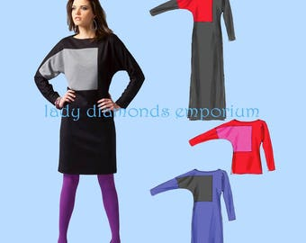 McCalls M6792 Womens Loose Fit Pullover Batwing Top & Dress 3 Lengths size 8 10 12 14 16 Color Block Option Sewing Pattern 6792 Uncut FF