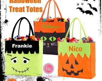 Halloween trick or treat bag , personalized halloween bag , halloween bucket , kids trick or treat bag, frankenstein, cat, pumpkin