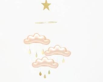 Peach Baby mobile - Blush cloud mobile - blush nursery - Blush cloud mobile- Cloud mobile - gold nursery -peach nursery - baby gift - cot