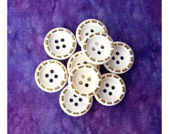 Mod White Buttons, 18mm 3/4 inch - White Sewing Buttons with Golden Ring-Around Stitch - 9 VTG NOS Satin White Vintage Buttons PL535 2LS