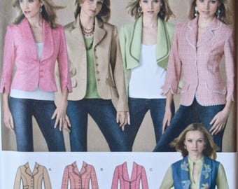 Simplicity 4281 Sewing Pattern Misses' Lined Jacket or Vest with Length and Collar Variations UNCUT Factory Folds Sizes 6-8-10-12-14
