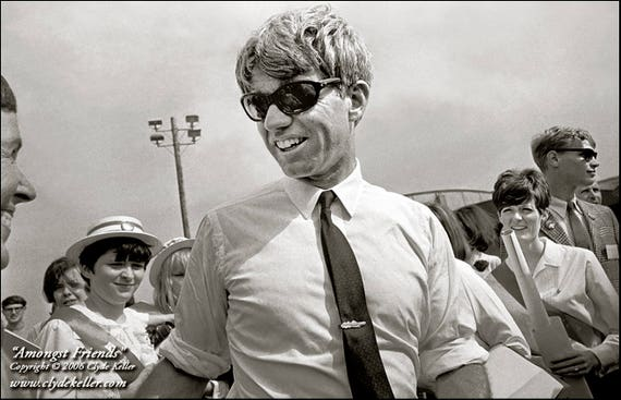 AMONGST FRIENDS, Robert F. Kennedy, Clyde Keller 1968 Photo