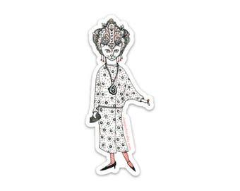 Glamour Kitty Cat Lady vinyl sticker