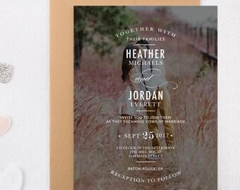 Custom Photo Wedding Invitations Typography Printable Invites Engagement Photo Invitation Set Classic Modern Photo Invite Save the Date