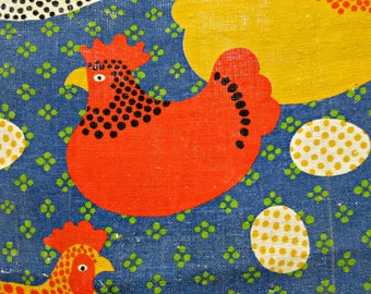 Vintage Tea Towel, Chicken and Egg, Which Came First, Linen Tea Towel, Vintage Kitchen Towel, Kitschy Towel, Mod Graphics Chick Towel