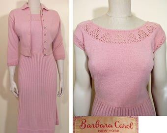 Vintage 1950s Pink Knit Dress and Jacket Set by Barbara Carol SZ S/M