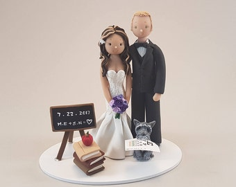 Teacher & Ophthalmologist Personalized Wedding Cake Topper