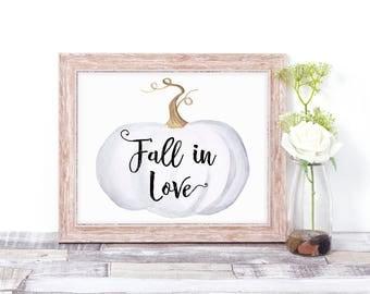 Fall Wedding Decor - Fall Wedding Signs - Fall in Love Sign - Pumpkin Sign - Rustic Fall Wedding Decor - White Pumpkin Decor - Wall Art Sign