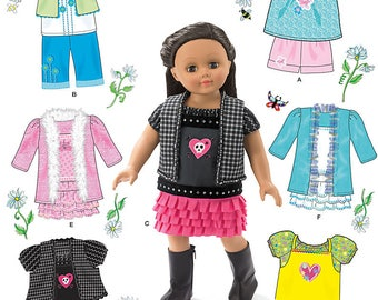 """American Girl Style Doll Pattern 18"""" Doll Clothes Pattern Shirt Shorts Ruffled Skirt Dress Pattern Trendy Doll Clothes Simplicity 0292"""