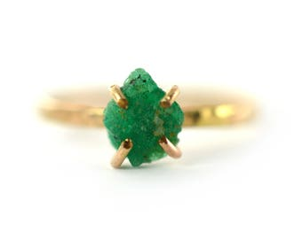 Raw Emerald Ring, Chunky Raw Gemstone Ring, May Birthstone Ring, Sized 8
