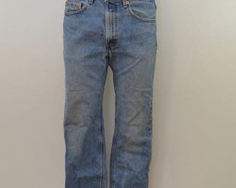 Vintage LEVI'S 505 w32 l32 red tab 80's denim blue jeans Nice hegay fade distressed