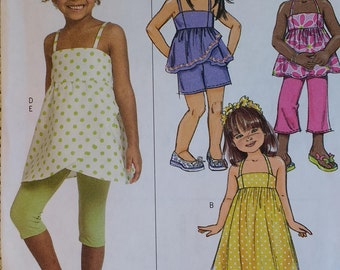 Girl Summer Wardrobe Pattern Butterick B5020 Childrens Girls Dress,Top,Shorts,Pants and Leggings Pattern Sizes 2,3,4,5,