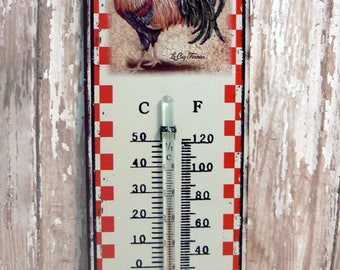 Rooster Volaille De France Wall Thermometer Country Barnyard Primitive Chic Decor
