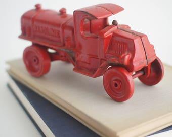 Vintage cast iron toy red gasoline truck, JM334 C-Cab cast iron doorstop or bookend