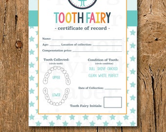 Kid's Tooth Fairy Certificate - Tooth Fairy Printable Certificate,Child's First Lost Tooth Report,Tooth Fairy Report, Lost Tooth Certificate