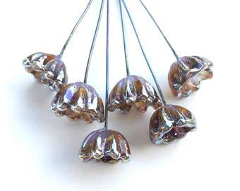 Bellflower Lampwork Headpins, Lampwork Flower Headpins, Flower Headpins, Set of 6 by Dry Gulch, Bronzed to Perfection #572
