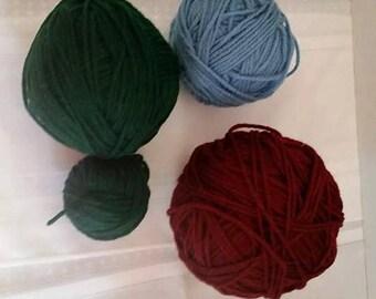 Destash Yarn in  Burgundy, Forest Green and Blue