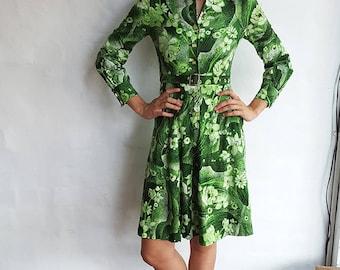 Vintage Green Floral Tokyo Dress, XS