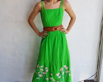 Vintage 1970s Apple Green Maxi Dress, Small