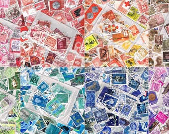 Choose Any 5 Postage Stamp Colour Packets • colourful mixed used world stamps