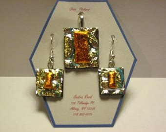 Fused glass pendant and earrings set-gold/blue textured dichroic with copper dichroic