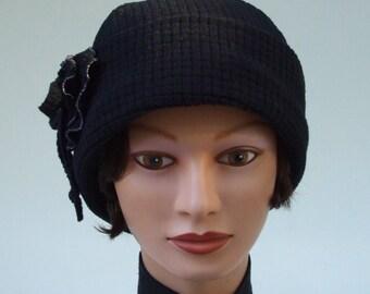 Black Fleece Watch Cap with Ruffled-edge Rosette, Cozy, Soft, Medium, Women's Hat, Polartec Power Dry™, Cancer Headwear, Hiking Hat