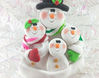 Personalized Snowman Family Christmas Ornament - Personalized Snow Family of Four - Personalized Polymer Clay Christmas Ornament -8514
