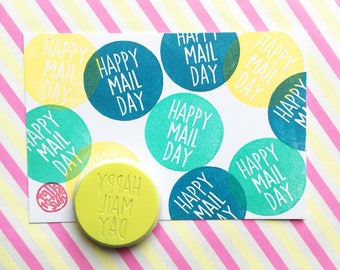 happy mail day hand carved rubber stamp. airmail stamp. packaging stamp for small mails. hand lettering. gift wrapping. shop branding